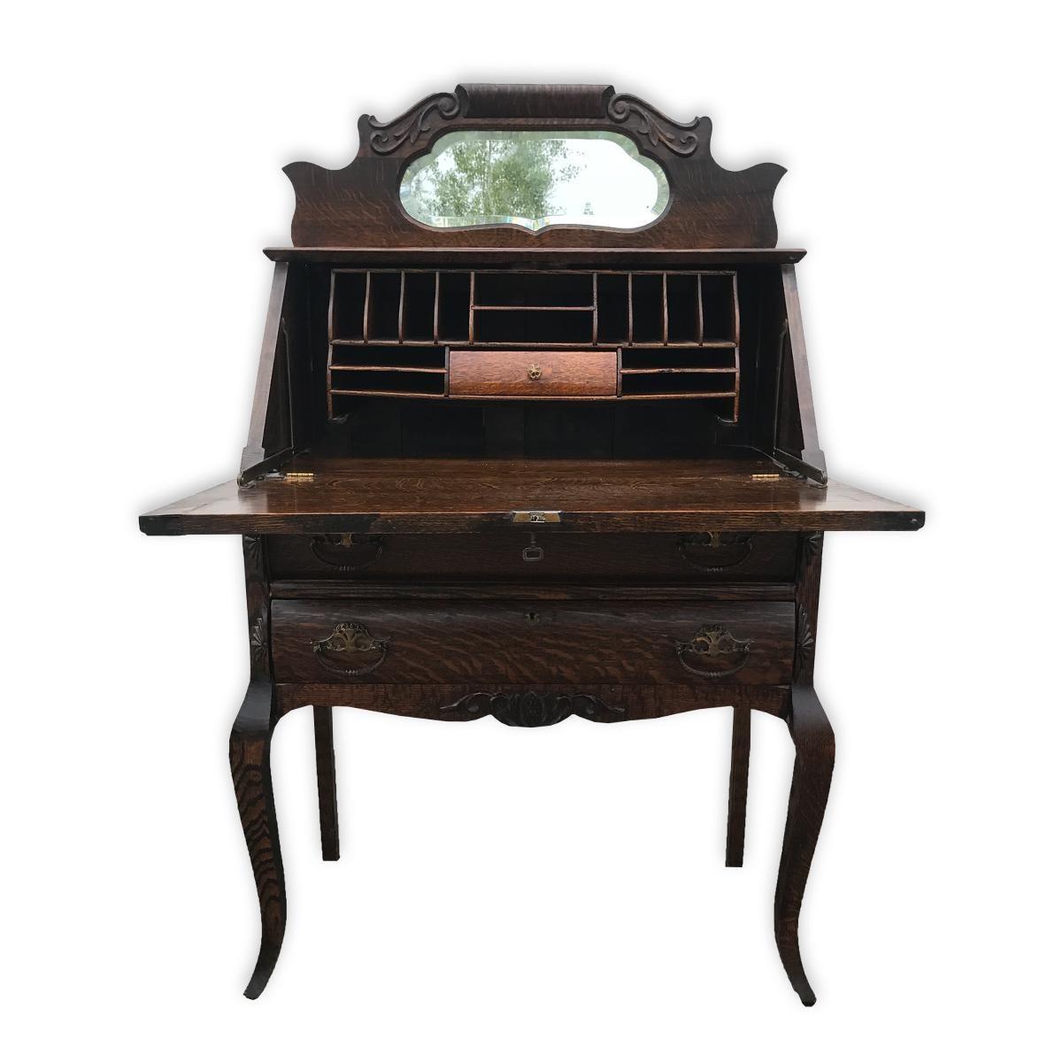Antique Victorian Tiger Oak Mirrored Drop Front Secretary