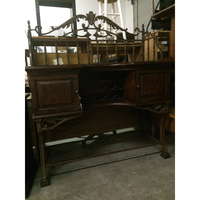 Beautiful Wrought Iron & Dark Wood Buffet - Image 6 of 10