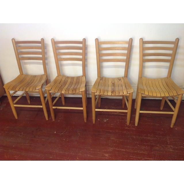 Vintage Sparrow Slat Ladder Back Chairs - Set of 4 - Image 2 of 9