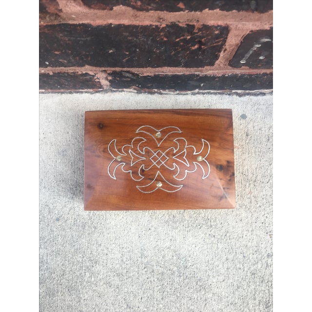 Antique Metal & Pearl Inlay Decorative Box - Image 4 of 4