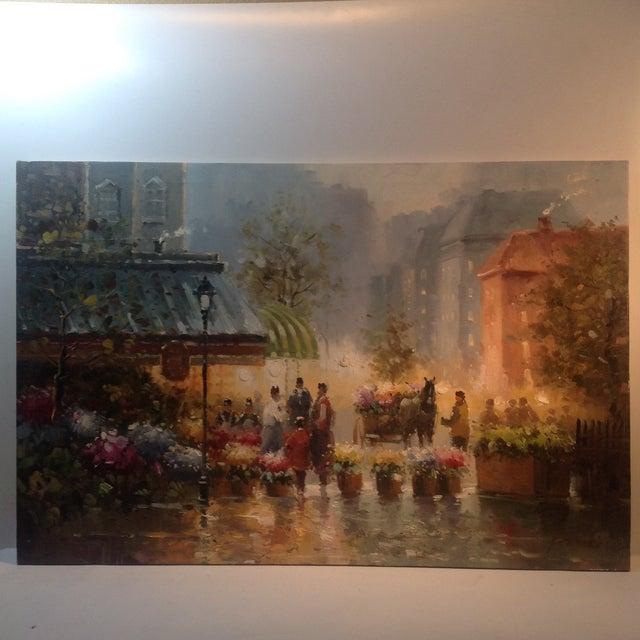 Fresh Flowers Parisian Street Scene Oil on Canvas - Image 2 of 3