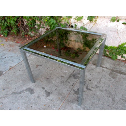 Mid-Century Chrome & Glass Side Table - Image 2 of 4