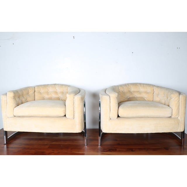 Milo Baughman Style Club Chairs - A Pair - Image 2 of 10