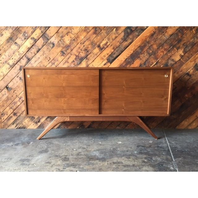 Mid Century Style Custom Walnut Sculpted Base Credenza - Image 2 of 9