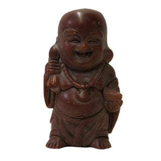 Chinese Brown Soap Stone Carved Small Happy Buddha Figure