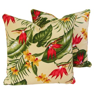 Custom Tropical Floral Barkcloth Pillows - Pair