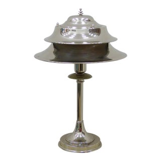 Markel American Art Deco Silver Metal Table or Desk Lamp