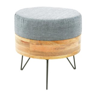 Modern Round Linen Pouf on Hairpin Legs