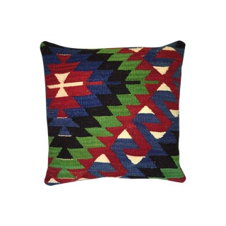 Blue, Red & Green Kilim Pillow Cover
