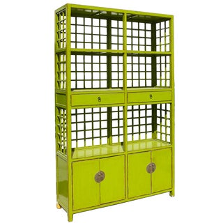 Chinoiserie-Style Grid Bookcase in Lime