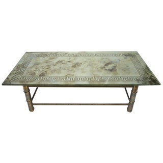 Antiqued Greek Key Relief and Brass Bamboo Form Base Mirror Coffee Table
