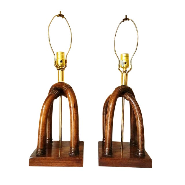 Palm Beach Regency Brass and Rattan Lamps - Pair - Image 1 of 7