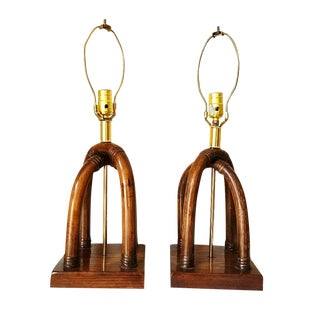 Palm Beach Regency Brass and Rattan Lamps - Pair