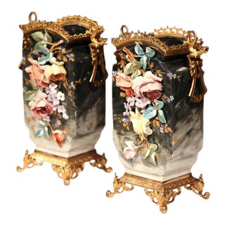 19th C. French Hand-Painted Barbotine Vases - A Pair