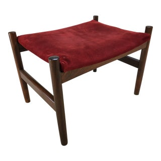 Spottrup, Denmark Danish Modern Rosewood and Suede Ottoman