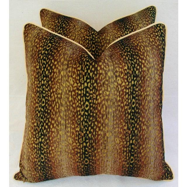 Designer Big Cat Velvet & Chenille Pillows - Pair - Image 2 of 8