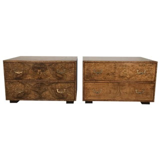 Widdicomb Burl Wood Campaign Style Chests - a Pair