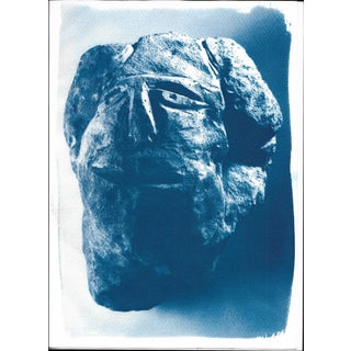 Rocky Abstract Face Cyanotype Print