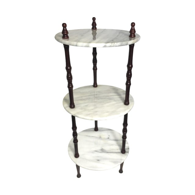 Mid-Century 3-Tier Marble Table Plant Stand