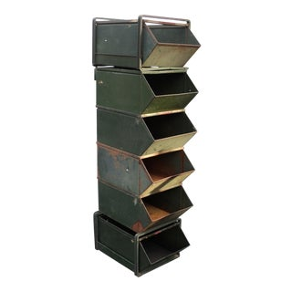 Industrial Country Store Metal Stacking Storage Bins - Set of 6