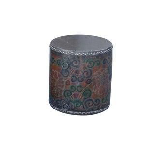 Rustic Tibetan Drum Side Table