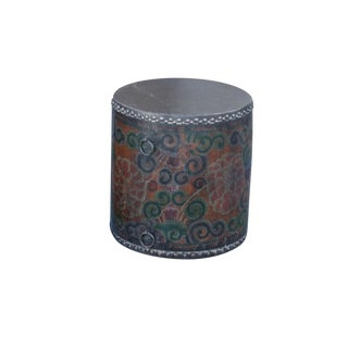 Rustic Tibetan Drum Side Table