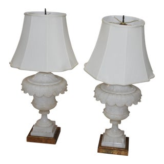 Alabaster Urn Pedestal Table Lamps- A Pair