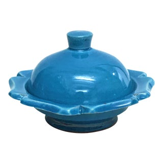 Hand Painted Blue Small Ceramic Serving Dish with Lid- Floral Design