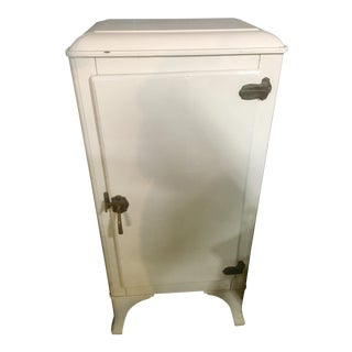 Vintage Off White Metal Ice Box Refrigerator