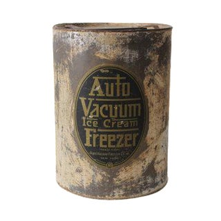 Antique Auto Vacuum Ice Cream Freezer Metal Container Jar Can