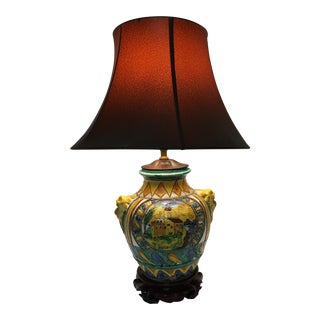 Majolica Italy Table Lamp Crest Village Scene