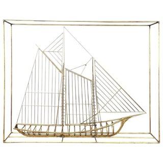 Curtis Jeré Metal Clipper Ship Sculpture