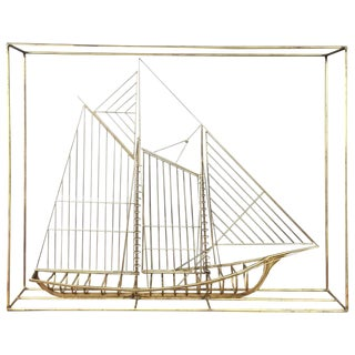 Curtis Jeré Metal Clipper Ship Sculpture