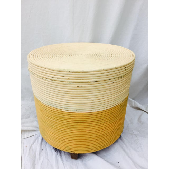 Vintage Wrapped Rattan Side Table with Storage - Image 3 of 8