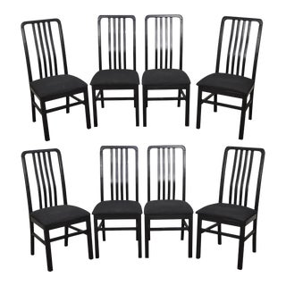 Dinaire Black Slat Back Dining Chairs - Set of 8