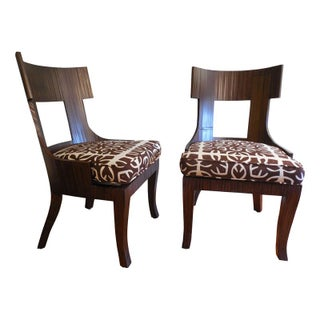 Split Bamboo Wrapped Side Chairs - A Pair