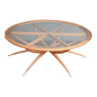 Mid Century Spider Leg Teak Coffee Table with Clear Glass Top