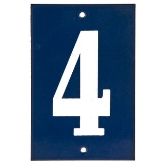 "Vintage Blue & White House Number ""4"""