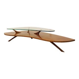 Mid-Century Danish Modern Amorphous Vladimir Kagan Style Ghost Top Coffee Table