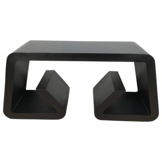 Black Lacquered Scroll Console Table