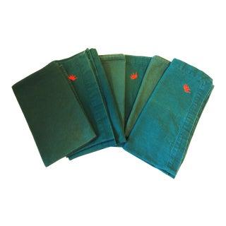 British Indian Green Linen Napkins - Set of 6