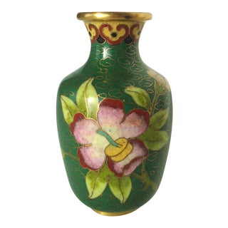 Asian Antique Green Cloisonne Vase