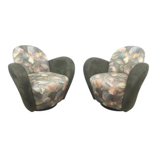 Kagan Style Swivel Lounge Chairs - A Pair