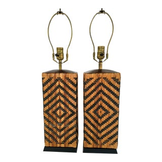Vintage Wicker Wrapped Table Lamps - A Pair