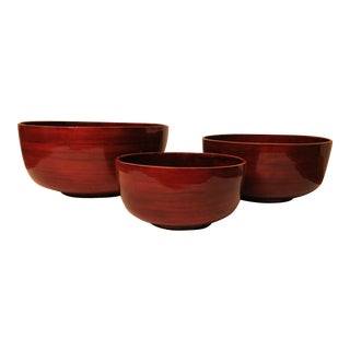 Lacquered Bamboo Serving Bowls - Set of 3