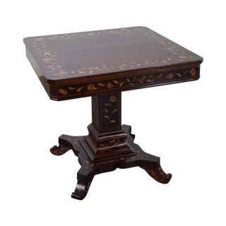 Antique Mahogany Marquetry Inlaid Square Game Table