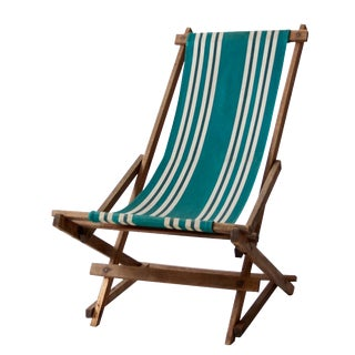 Vintage Green Striped Deck Chair