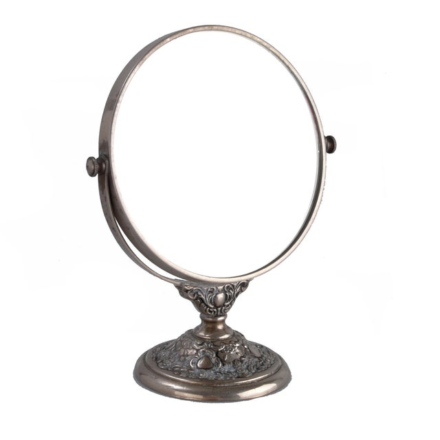 Silver-Plate Vanity Mirror - Image 1 of 9