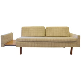 Mid-Century Loveseat With Pull-Out Side Table