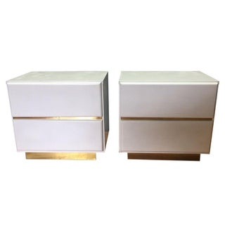 White & Gold Box Nightstands - a Pair
